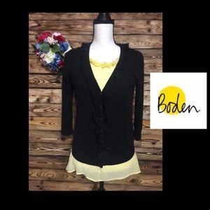 Boden Black Buttoned Cardigan Cashmere Blend🎉6